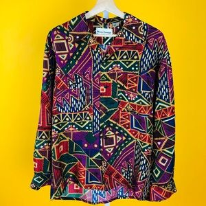 100% Silk Multicolor Geometric Long Sleeve Blouse